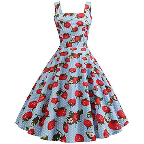 AIni Damen Vintage ÄRmelloses Elegant 50er Jahre Petticoat Kleider Gepunkte Rockabilly Kleider Cocktailkleider Partykleid Ballkleid Festkleid -