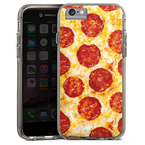 Apple iPhone 6 Plus Bumper Hülle Bumper Case Glitzer Hülle Pizza Food Käse Salami Bumper Case transparent grau