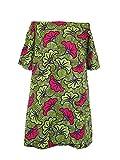Robe d' Eté Epaules Dénudées Glamour Wax Polycoton Léger Fleur de Mariage Vert Rose Manches 3/4 Poches Latérales Taille L