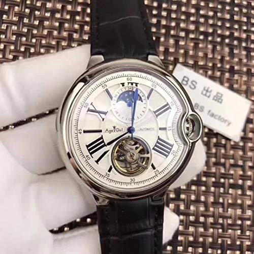 PLKNVT Automatische Mechanische Herrenuhr Leder Silber Rose Gold Transparent Mondphase Uhren Schwarz Blau TourbillionSchwarz Leder Weiß
