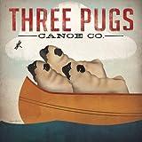 Drei Möpse in einem Kanu von Ryan Fowler Vintage ADS Tiere Hunde Haustiere Print Poster 30,5x 30,5