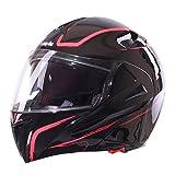 MERRYHE Motocicleta Allround Helmet Fullface BMX Helmets Scooter Motorcross Moto Hard Hat Para Toda La Temporada Unisex Con Doble Lente,LightRed-XXL(60-61cm)