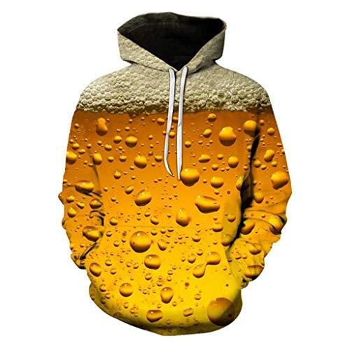 OHQ Herren Basic Kapuzenpullover Mode 3D Bier Printed Hoodie Unisex Sweatjacke Pullover Männer Sweatshirt Langarmshirts Streetwear Interessant Casual Oktoberfest Halloween Oberteile (XXXL, Gelb) Bier-zip Hoodie