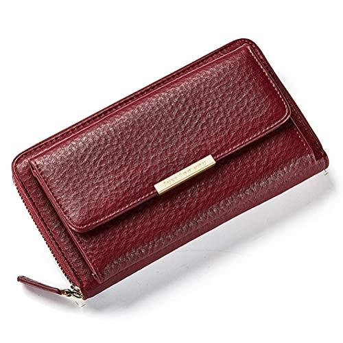 Portafoglio donna,titolare della carta borsa lunga frizione crossbody moda portafoglio le signore borsellino con tracolla cerniera smartphone portare custodia astuccio per iphone x / 8 7 plus rosso