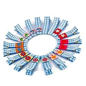 1 Paar hochwertige Haarspangen hellblau kariert – mit Stoff bezogen – KEIN ZIEPEN – Viele Variationen – Made in Gemany