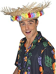 Chapeau paille hawai avec fleurs