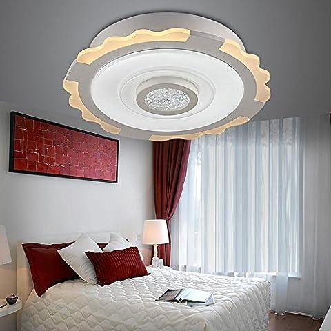 LED 24W Plafonnier Rond Moderne Élégant Lampe semi-encastrée, blanc Acrylique et Métal Ombre à lampe, Éclairage Fixation pour Chambre Cuisine Salle à manger Salle d'étude, 3500K Blanc chaud, D47.5CM