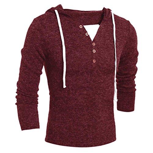 Xinan Herren Hoodie Herbst Winter Männer Mode Kapuzen Pullover Top Bluse (L, Weinrot)