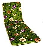 Polsterauflage Gartenstuhlauflagel Modell 330 grün mit Blumen (175x50 cm Relaxliegenauflage)