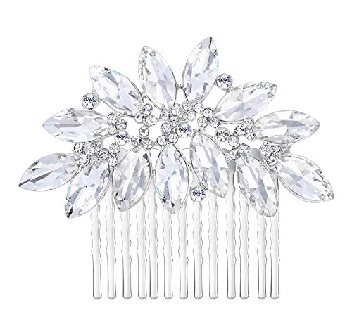 EVER FAITH® österreichischen Kristall Träne Form herrlich elegant Braut Haarkamm Haarschmuck Silber-Ton N00406-1
