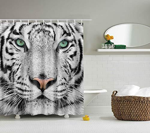 ißer Tigerkopf-Porträt-hellgrüne Augen Mehltau- und feuchtigkeitsbeständiger wasserdichter Badvorhang 180x180cm ()