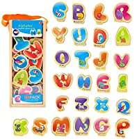 YIMORE Wooden Magnetic Learning Letters Set ABC Alphabet Magnets for Kids Children Preschool Educational Toy