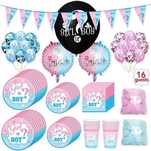 Pappbecherparty Baby Gender Reveal Partyware Kit Blau Rosa Teller Servietten Cups Besteck Set Einweggeschirr Party