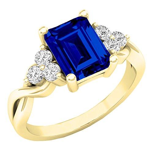 10K Gelb Gold 8x 6mm Lab Saphir Blau & Weiß Erstellt Saphir Verlobungsring Ring (Größe 7) (Größe Saphir-ring 7)