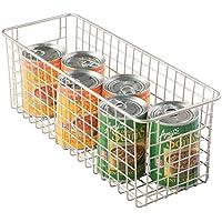 mDesign - Canasto de alambre; para cocina, alacena, gabinete - mediano, profundo - Satinado