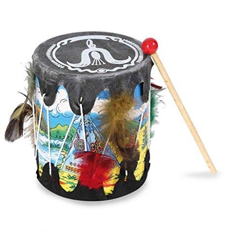 Indianer Trommel mit Schlegel Musikinstrument Kindertrommel Musik-Spielzeug Accessoire Wilder Westen