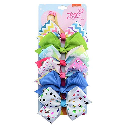 6 Pack Hair Bows for Girls 5 Inches Large Big Grograin Ribbon Bows Alligator Hair Clips in Pairs Hair Accessories for Baby Girls Kleinkinder Jugendliche Frauen Micro-alligator Clips