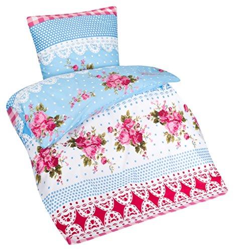 Aminata – Verspielte Bettwäsche Blumen Landhausstil 135×200 cm Baumwolle + Polyester + Reißverschluss - 3