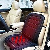 Cargool sedile riscaldato cuscino regolabile sedile auto riscaldamento sedile auto caldo con fusibile integrato, elastico e ganci in metallo, universale per 12V auto, camion e SUV, 96,5x 48,3cm nero