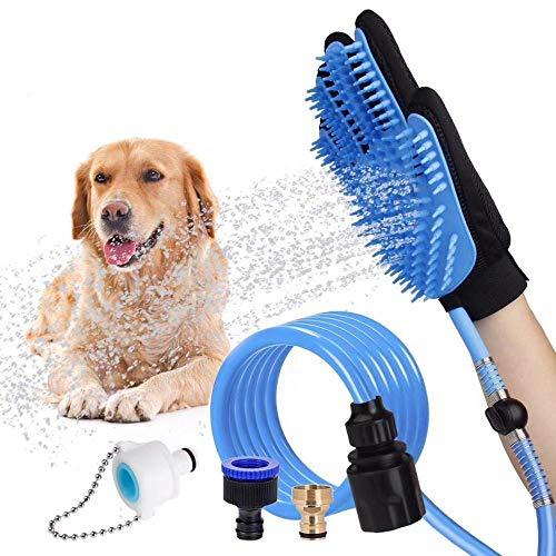 Daeou Haustier Kamm pflegenbürste Haustier Dusche Pinsel Finger Tube Hund Handschuhe Wasserbad Spray Massage Bürste 2,5 M