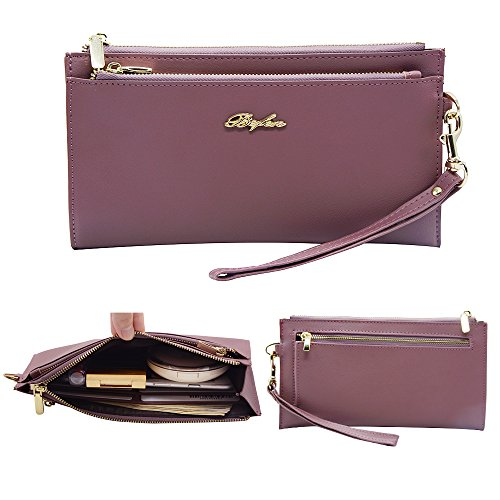 Befen Damen Soft Leder Wristlet Handy Clutch Wallet mit abnehmbarem Handgelenk Armband Smartphone Wristlet Geldbörse für iPhone 7 / 6s / 6 Plus, iPhone 7 / 6s / 6 / 5s-Erblassen Sie Pinkish Lila (Armband-clutch-brieftasche)