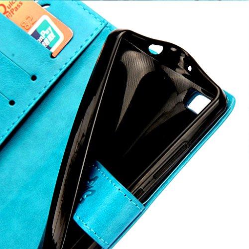 Custodia iPhone 7 Cover Grigio , Leathlux Retro Fiore Modello Design Con Cinturino da Polso Magnetico Snap-on Book style Internamente Silicone TPU Custodie Case in pelle Protettiva Flip Case per iPhon Azzurro