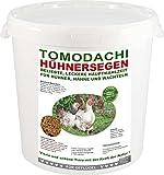Hühnerfutter, natürliches, hochwertiges Vollwertfutter für Hühner, calziumreiche, artgerechte Komplettnahrung für besonders dickschalige Eier, reich an Omega-3 und Omega-6 Fettsäuren, natürlicher Immunschutz, Qualitäts Körnermischung für vitale, glückliche Hühner und Hähne, Tomodachi Hühnersegen 5kg Eimer