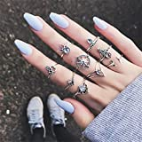 Elistelle 9 pcs Ring Damen Silber Gold Boho Midi Ringe Fingerring-Set Schmuck