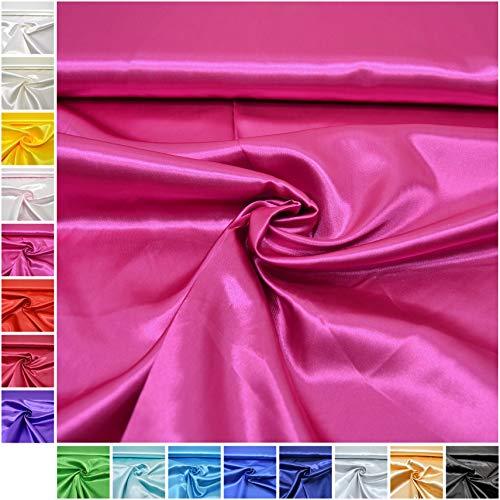 MAGAM-Stoffe Estelle Satin Stoff uni ideal für Kleidung und Deko Meterware ab 50cm (05. Pink/Fuchsia)