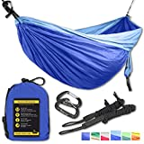 Double Eagle Hammock - Incl. 2 carabiners and 2 ropes - 118 x 78 in - 600 lbs load . Top Rated Best Quality Lightweight Parachute Nylon 210T Camping Hammocks. Great Gift.2 YEAR WARRANTY.