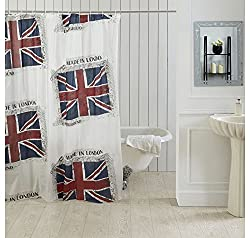 Ocean Dew Flag Shower Curtain - @home By Nilkamal, Blue