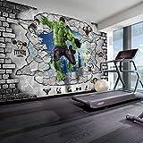 MJJBBH Papier Peint Autocollant Mural (W) 400X (H) 280Cm Papier Peint Photo 3D Géant Chambre D'Enfant De Hulk Mur 3D Murale Art Garçon Fille Chambre Affiche Murale Salon Décoration