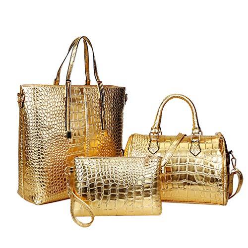 XNBZW Handtaschen Damen 3 Stücke Leder Große Kapazität Retro Vintage FashionTop-Griff Lässig Tote Umhängetaschen Umhängetasche Gold