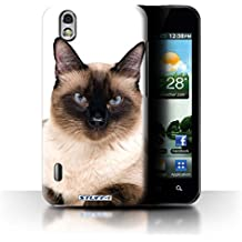 Custodia/Cover Rigide/Prottetiva STUFF4 stampata con il disegno Razze di gatti per LG Optimus Black P970 - Siamese