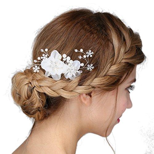 Vintage Argento sposa tiara cristallo strass perla nozze prom capelli  fermaglio perle nozze strass perle di 82217e63a139