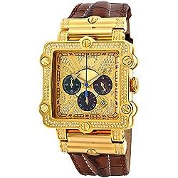 """Just Bling Herren JB-6215-238-A """"Hollywood Brown"""" Diamond And Gold Lünette Lederband Uhren"""
