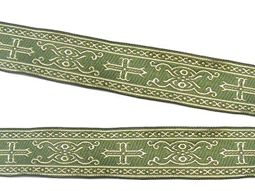 10m Kreuz Borte Webband 35mm breit Farbe: Moosgrün-Gold von 1A-Kurzwaren SM05-moos-35 (Kreuz Borte)
