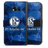 DeinDesign Tasche kompatibel mit Samsung Galaxy S7 Leder Flip Case Ledertasche FC Schalke 04 Camouflage S04