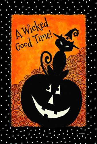 Toland Home Garden Let 's Get Wicked Garden Flagge 119732, Textil, schwarz / weiß / orange, Größe (Pilgram Hat)