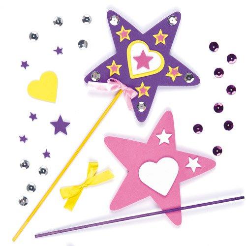 Kinder Stern Zauberstab (Bastelset - Zauberstäbe - Prinzessin - für Kinder zum Basteln - für Karneval und Mottoparty - 4)