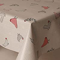 PVC Tablecloth Chicken Ducks 2 Metres (200cm x 140cm), Polka Dot Spots Checks Hearts Floral French Houndstooth, Red Burgundy Grey Beige Slate, Wipe Clean, Vinyl / Plastic Table Cloth