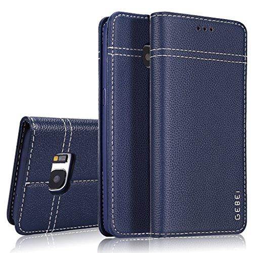 Samsung Galaxy S7 Hülle,GEBEI Serie,luxuriös Echtes Leder Klapphandy Geldbeutel Halter magnetische Adsorption Einfügen von Karte Schutzhülle für Samsung Galaxy S7 (Blau)