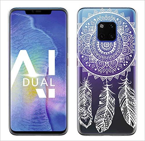 yayago Hülle für Huawei Mate 20 Pro Silikon Schutzhülle Hülle Case Backcover Tattoo Ornament Spring Design transparent Tasche