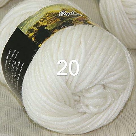 Fil à tricoter épais tissé à la main coloré en laine écharpes châles Laine 100g/groupe, Laine, 20 White, 100g/group