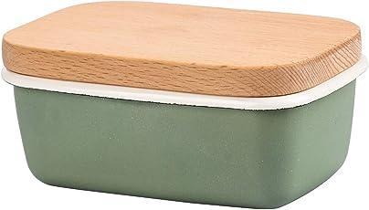 Muzi Butterdose–Emaille Butter Keeper mit Buchenholz Deckel (hellgrün)