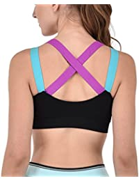 IndiaDeal Padded Sports Bra Designer Cross Straps Bralette For Workout Aerobic Gym Yoga Dancing Sports Cotton Bra, For Women And Girl Free Size (30 to 36) (Removable Pad)