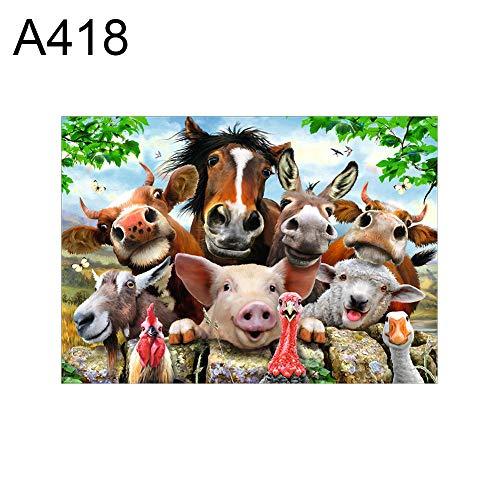 fiejns-zjy A406 Kreuzstichdekoration, Motiv: Schweine/Kuh, 30 x 40 cm A418