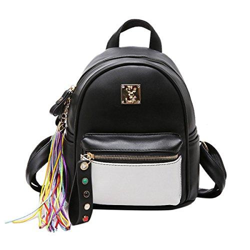 QPALZM Leder Rucksack Frauen Weich & Mode Lovely Rucksack Nette Schule Tasche Schultertasche Für Mädchen Black
