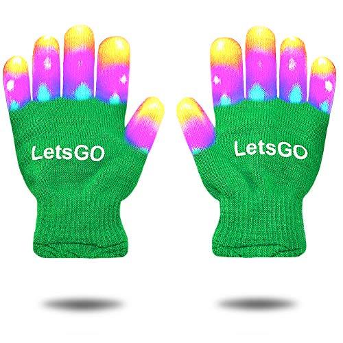 DEDY Weihnachten Spielzeug 2018 für Kinder, Leuchten Rave Handschuhe für Jungen Mädchen Geschenke für 3-12 Jahre alt Kinder Weihnachten Cool Toys für Geburtstag Party Green MMJSST01 (Handschuhe, Die Leuchten)