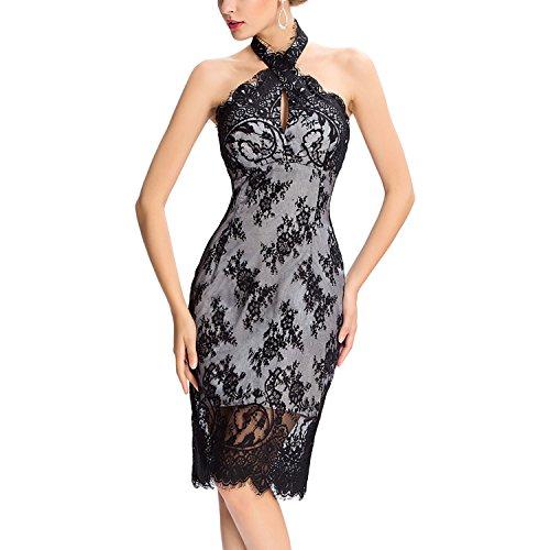 Dolamen Mujer Cordón Vestidos, V cuello del halter Vintage y estilo retro, ajuste delgado Rodilla-largo, sin mangas del vestido del cordón del hombro (Medium, Negro)